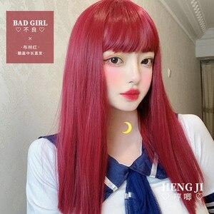 Image 2 - Uwowo czerwona peruka Staight peruka do Cosplay Lolita peruki żaroodporne włosy syntetyczne Anime peruki na przyjęcie czerwone
