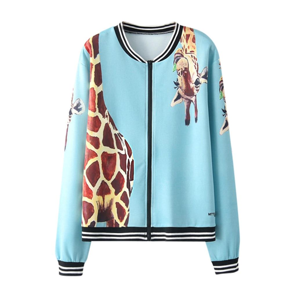 Women Giraffe Print Baseball   Jacket   Long Sleeve Tie Print Zipper Pockets Casual Sport Coat women in Women's   Basic     Jackets