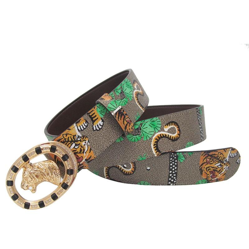 Image 5 - Western Rhinestone Tiger Alloy Buckle Tiger Print Leather Men Belt Fashion Jeans Causal Pants Men BeltMens Belts   -