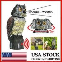Búho señuelo con cabeza giratoria de 360 °, Control de sombra de sonido, repelente de plagas, cuervos, espantapájaros, búho de imitación activado por voz