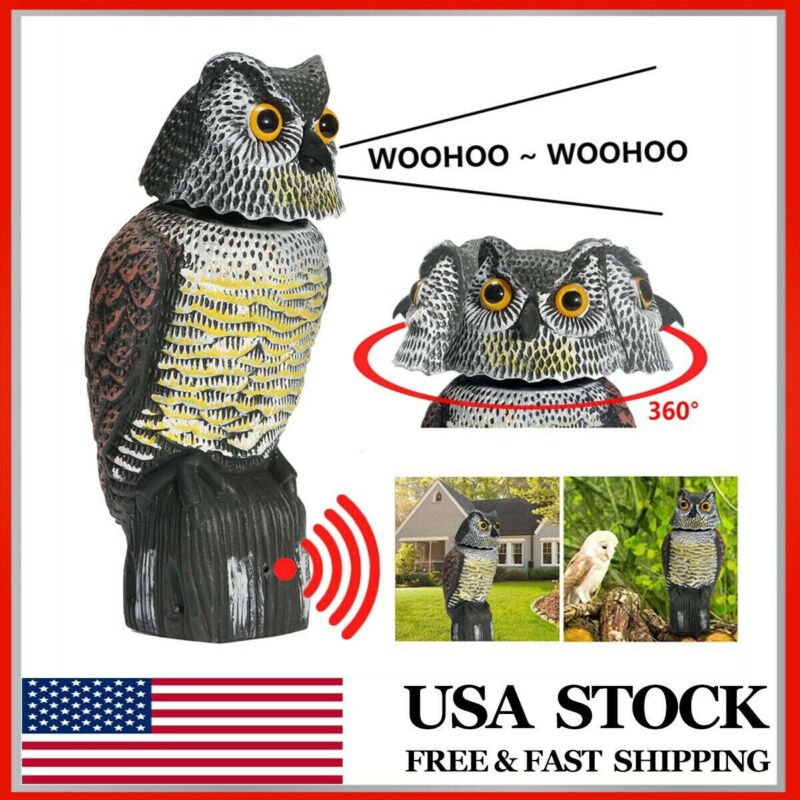 Owl Decoy 360� rotate Head Sound  Shadow Control repel Pest Crow Scarecrow Voice-activated Simulation Owl