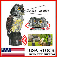 Owl Decoy 360° rotate Head Sound  Shadow Control repel Pest Crow Scarecrow Voice-activated Simulation Owl