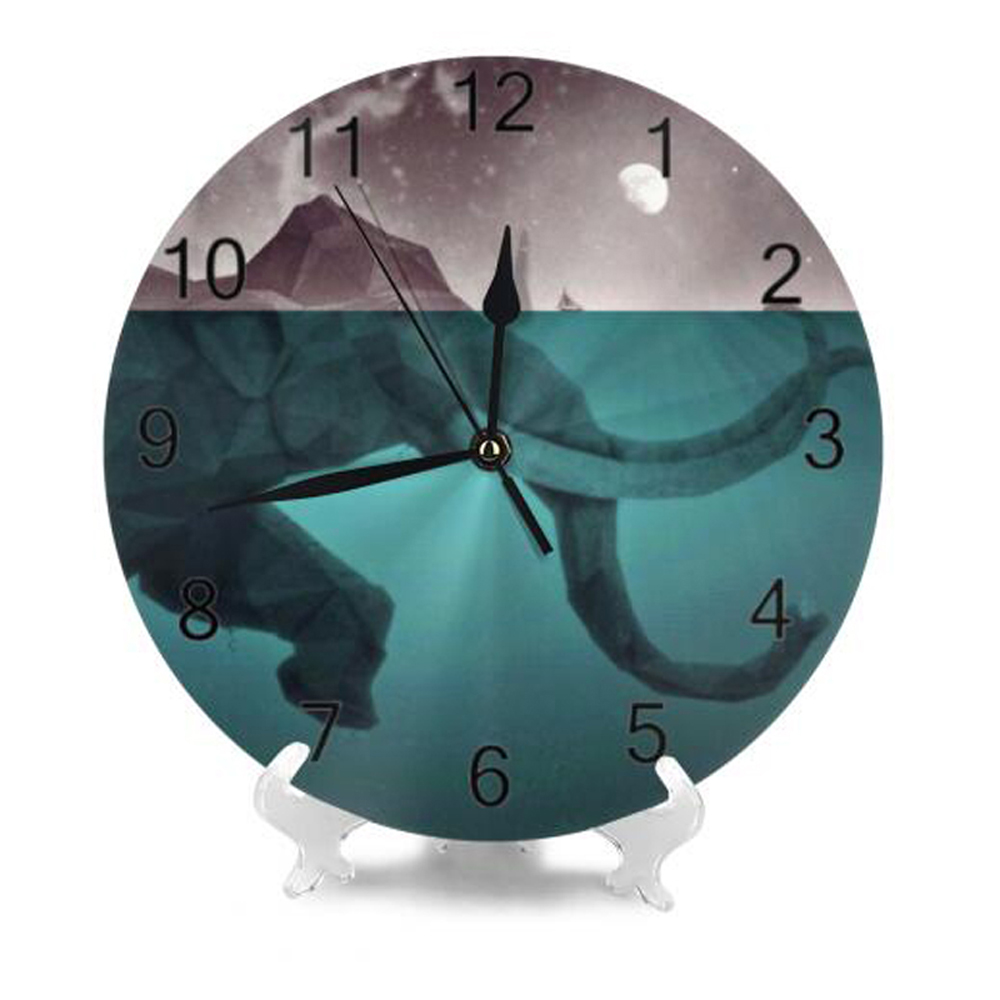 Elephant 25CM Round Wall Clock Numeral Digital Dial Mute Silent Non-Ticking Battery Operated Clocks Decor Art For Living Room