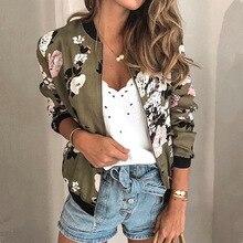 Women Jackets Retro Floral Printed Ladies Zipper Up Bomber Outwear Spring Long Sleeve Short Thin Slim Casual Pocket Biker Coats