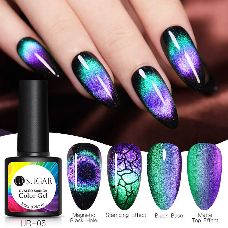 UR Gula 7.5 Ml 9D Chameleon Cat Eye Nail Gel Magnetic Rendam Off Uv Gel Cat Kuku Romantis Bersinar Gel lak Black Base Perlu