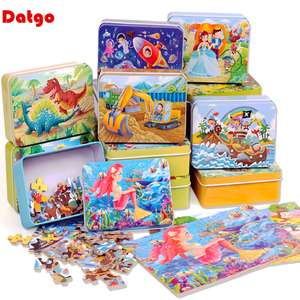 New 60 Pieces Wooden Toys Puzzle Kids Toy Cartoon Animal Wood Jigsaw Puzzles Child Early Educational Learning Toys for Children