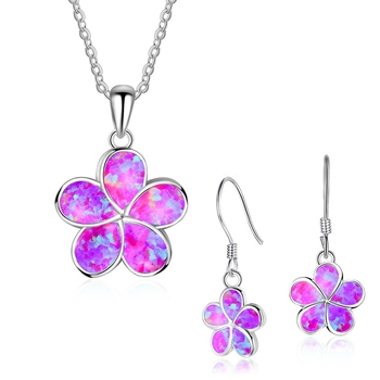 Cute Fashion Flower Jewelry Set Women Necklace With Earrings For Women Accessories Engagement Wedding Jewelry Lover Gift image