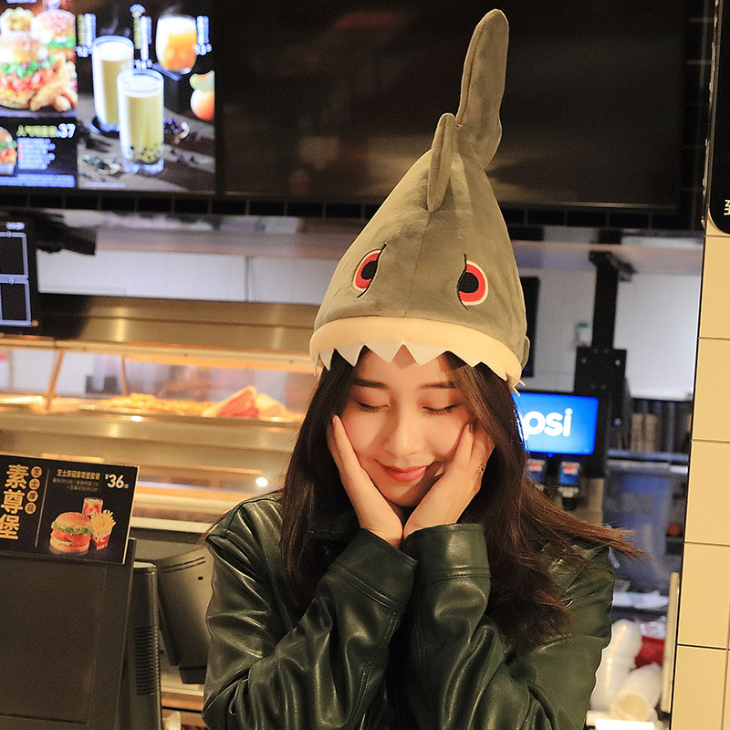 New Arrival Creative Plush Shark Hat Electronic Music Moving Tail Doll Holiday Birthday Gifts image