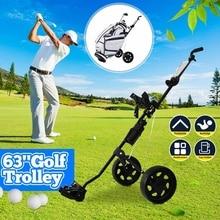 Outdoor Golf Trolley Golf Push Cart Swivel Foldable 3 Wheels Pull Cart Golf Trolley with Umbrella Stand Golf Cart Bag Carrier