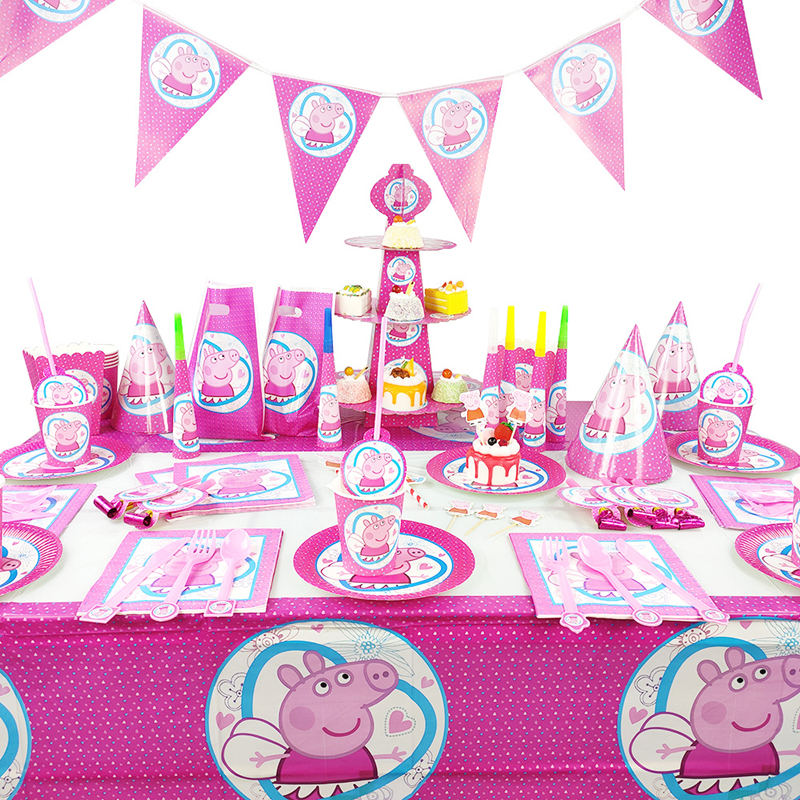 Peppa Pig Birthday Party Decoration Toys Set Cartoon Pink Pig Anime Action Figure Model Family Party Dining Table Toy Child Gift