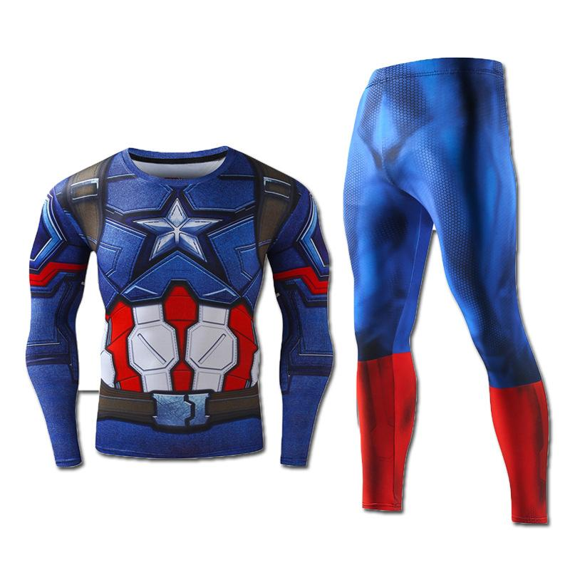 3D Print Spider Man Compression Sport Shirt Pants Suit Men Tight Base Layer Fitness Gym Running Tops