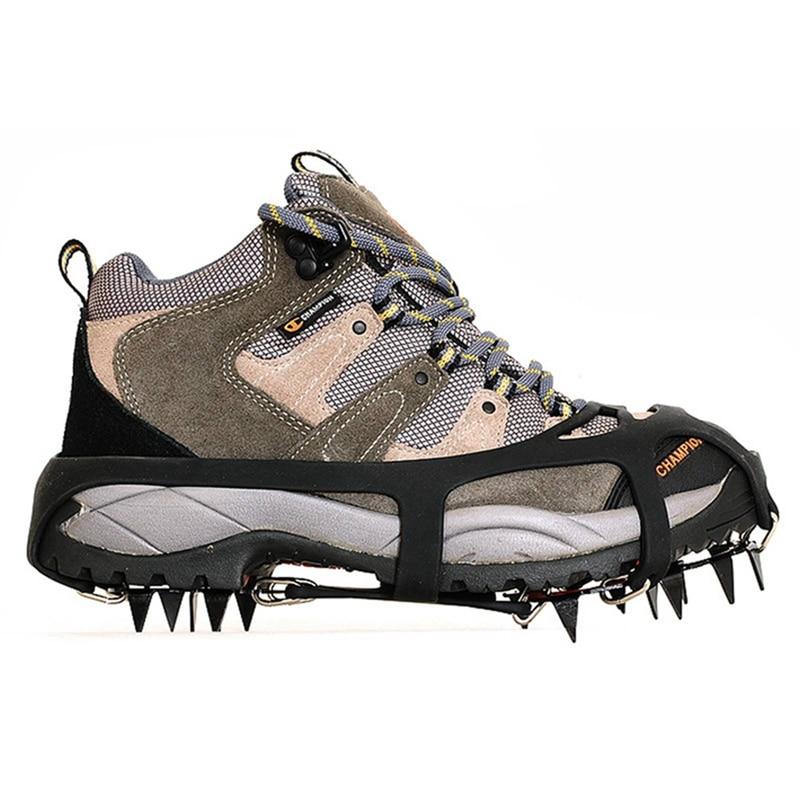 18 зубьев стальной захват для льда шипы для обуви против скольжения альпинизма снег шипы скобы цепи когти Захваты сапоги крышка