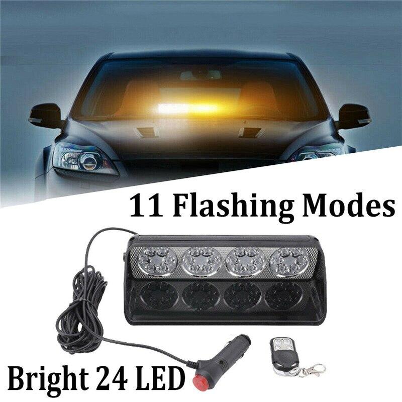 24 светодиодный автомобильный светильник с дистанционным управлением 72 Вт тире лобовое стекло маячок Предупреждение об опасности мигающая ...