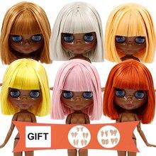 Buzlu DBS Blyth doll ortak vücut kısa yağ saç ve siyah parlak yüz veya süper siyah yüz kız hediye için oyuncak 1/6 buzlu 30cm bebek