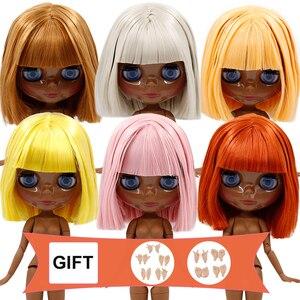 Image 1 - DBS BJD cuerpo de articulación de muñeca Blyth cabello de aceite corto y cara negra brillante o cara súper negro para niña, juguete de regalo, muñeca de 30cm helada 1/6