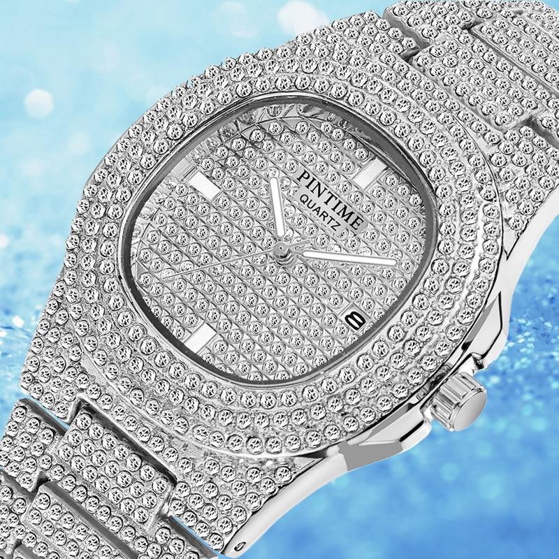 PINTIME Iced Out Watch Men HIP HOP Quartz Gold Mens Watches Top Brand Luxury Diamond Steel Clock Relogio Masculino Zegarek Meski
