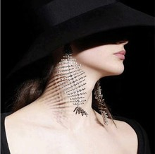 flash drill big fishbone curved line  earrings women crystal luxury dangle jewelry bohemian african