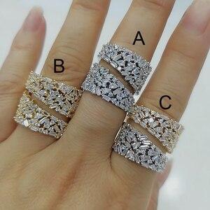Image 2 - GODKI anneaux de déclaration en gras pour femmes, bijoux de luxe, bijoux pour fêtes de fiançailles de haute qualité, avec pierres en zircone, collection 2020