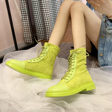 Fashion Colorful Green Yellow Boots 2019 New Fall Ankle Platform Western Cowboy Women Brown Black
