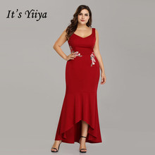 Its Yiiya Evening Dress Square Sleeve Robe De Soiree Sleeveless Print Formal Gowns  Plus Size Mermaid Dresses C539