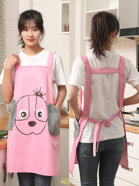 Hand wipeable apron female fashion cute Japanese home Korean kitchen waterproof oilproof work gown adult customization