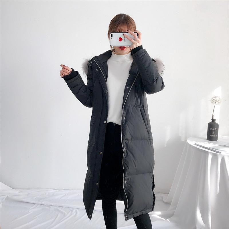 Winter Coat Women Clothes 2020 Korean Thick Warm Duck Down Jakcet + Raccoon Fur Hooded Fashion Long Chaqueta Mujer LW1280