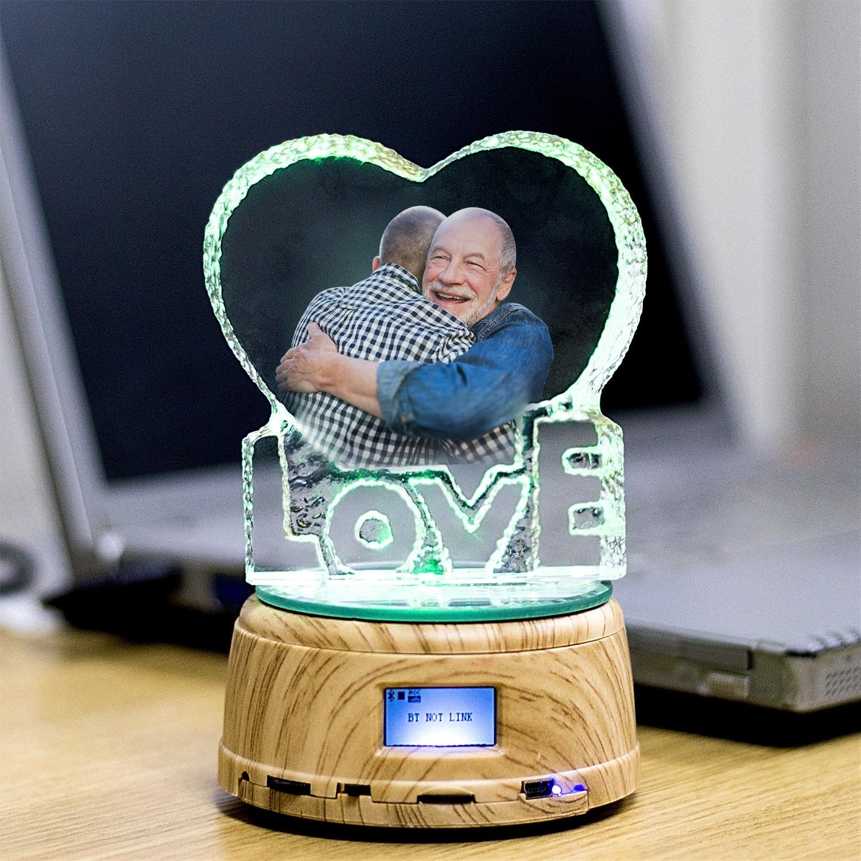 Father's Day MP4 Bluetooth Music Rotating Base Display Custom Crystal Photo Text RGB LED Night Light Couple Wedding Gift