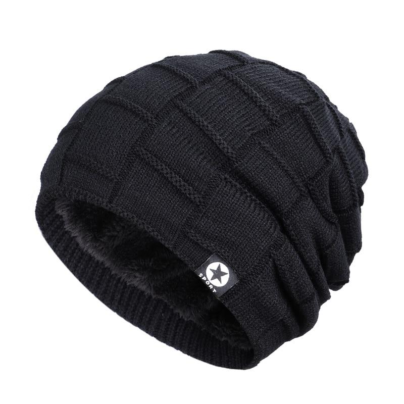 Зимняя мужская шапка с пятизвездочными звездами, шарф плюс бархатная мужская вязаная шапка, Теплая Лыжная маска, маска, головной платок, шапка, высококачественный хлопковый нагрудник, модная новинка - Цвет: Black-2