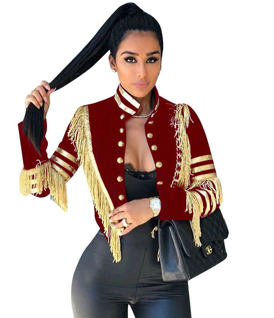 Image 3 - Echoine femmes sexy veste mode décontracté bande dor gland  manteau femme à manches longues militaire doré rayures grande taille  vêtements 3XLVestes de base