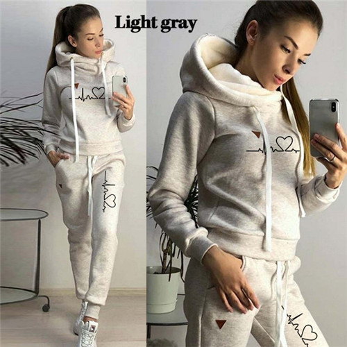 Women Tracksuit Pullovers Hoodies and Black Pants Autumn Winter Suit Female Solid Color Casual Full Length Trousers Outfits 2021 20