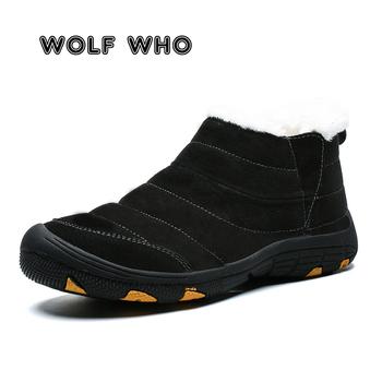 Męskie buty zimowe buty męskie ciepłe buty śniegowe futrzane pluszowe wewnątrz antypoślizgowy dół wodoodporne czarne buty buty męskie buty meskie X-180 tanie i dobre opinie Wolf Who Podstawowe Skóra Split ANKLE Stałe Dla dorosłych Krótki pluszowe Okrągły nosek RUBBER Zima Mieszkanie (≤1cm)
