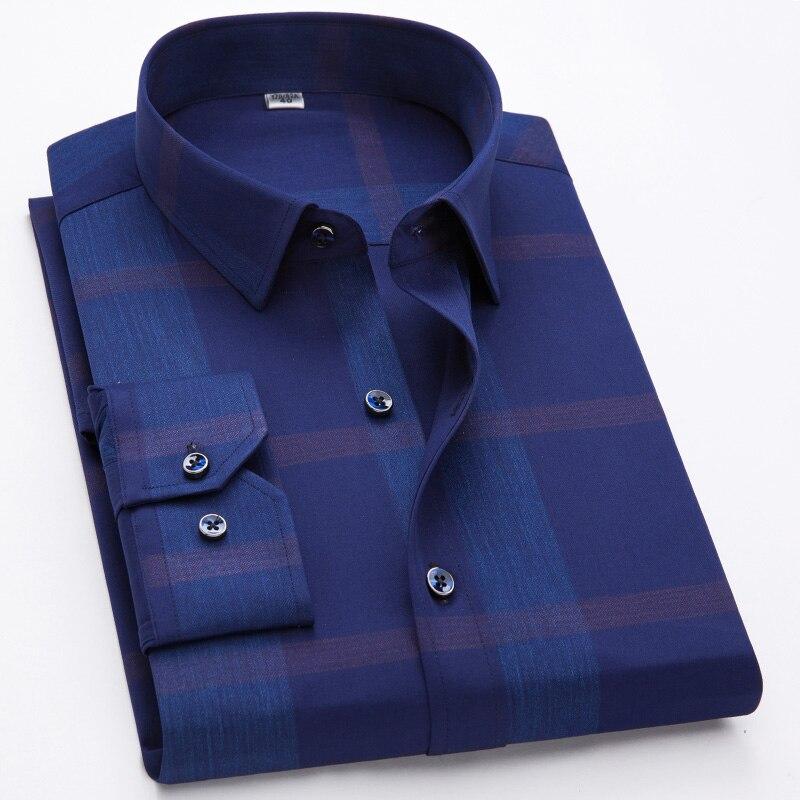 Men's Shirts 100% Cotton Long Sleeves Casual Shirts Male New Fashion Designer Comfortable Formal Big Plaid Bronzing Shirt(China)