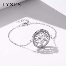 2019 Couples Round Fortune Tree Sterling Silver Bracelet DIY Life Tree 925 Sterl