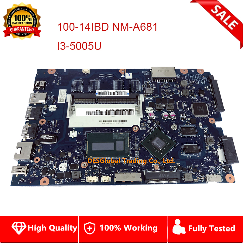 For Lenovo 100-14IBD 100-14IBY 100-15IBY Laptop Motherboard I3-5005U <font><b>SR27G</b></font> CG410/CG510 NM-A681 Mainboard Fully Tested image