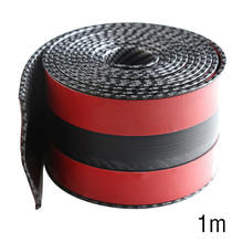 10CM*1M Car Sticker Carbon Fiber Rubber DIY Door Sill Protector Edge Guard Strip