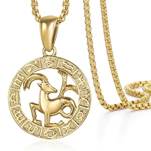 Image 4 - Mens Womens 12 Horoscope Zodiac Sign Gold Pendant Necklace Aries Leo Wholesale Dropshipping 12 Constellations Jewelry GPM24