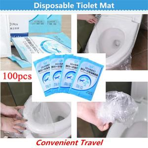 100pcs Disposable Tiolet Seat Cover Portable Toilet Seat Covers Camping Loo Wc Bacteria-Proof Cover Shopping Mall Station Travel(China)