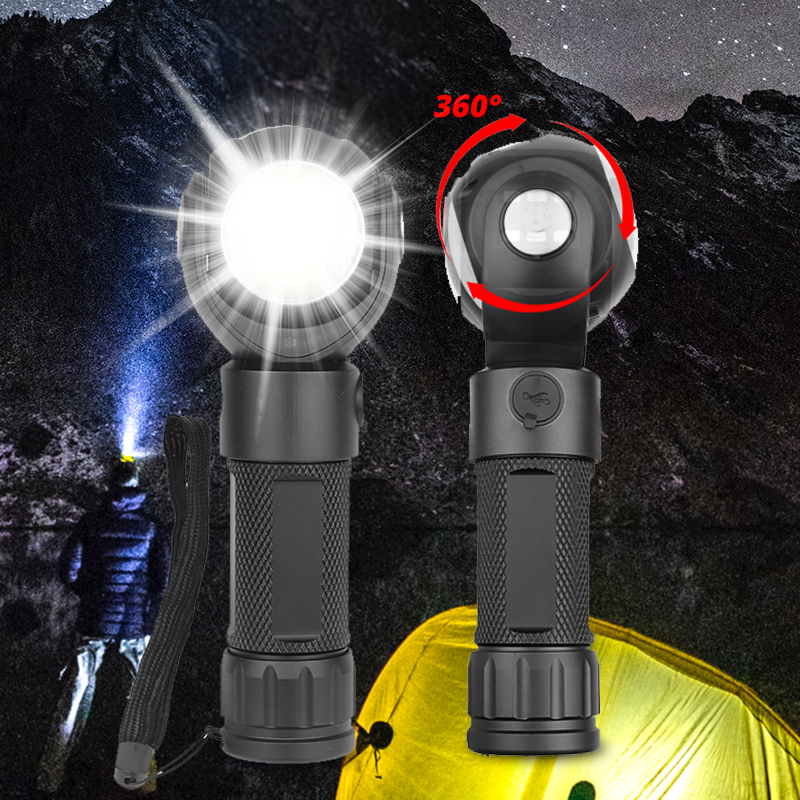 360 Degree Led Flashlight T6+COB Torch Waterproof 7modes Double Switch With Magnet Mini Outdoor Lantern 18650 Or 26650 Battery