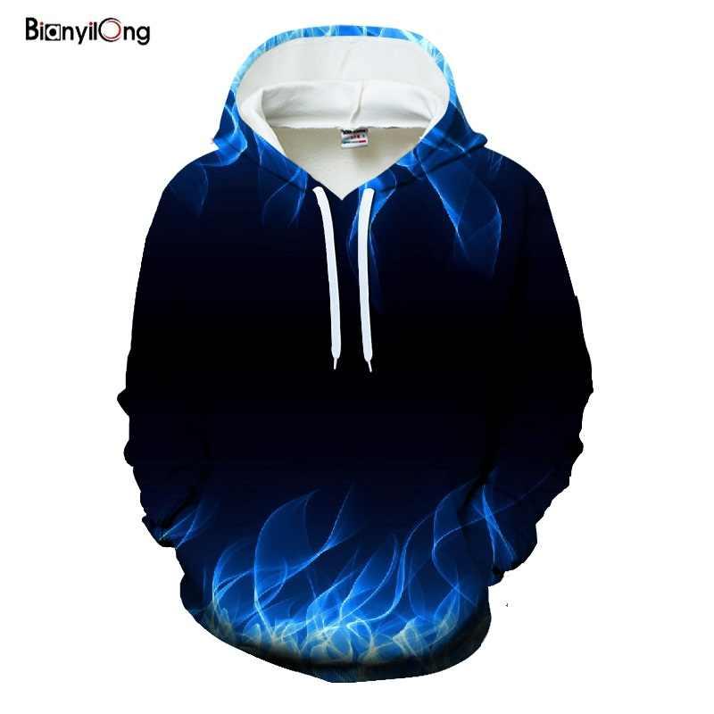 Nowy 2019 niebieski aksamitne bluzy z kapturem, 3D bluzy z nadrukiem, unisex bluzy, harajuku mody bluzy z kapturem