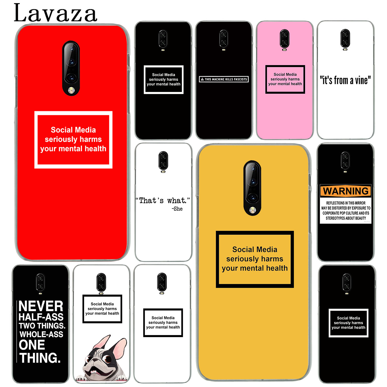 social media harms mental health Hard Plastic Cell Phone Case for Oneplus 7T 7 Pro 6 6t 5 5T Cover One Plus 7Pro image