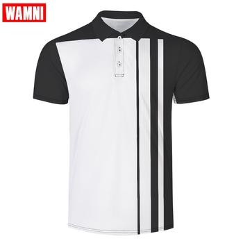 WAMNI marki szybkie suszenie tenis Harajuku czarny 3D koszulka Polo sportowe luźne z paskiem na co dzień męskie Streetwear koszulka Polo dres tanie i dobre opinie Skręcić w dół kołnierz Krótki Poliester Pasuje większy niż zwykle proszę sprawdzić ten sklep jest dobór informacji