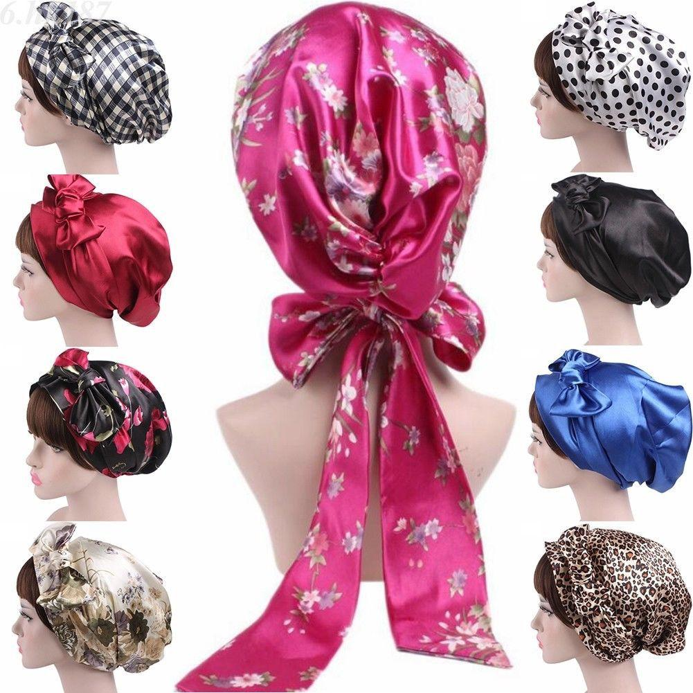 Satin Womens Hijab Chemo Hat Turban Head Scarves Hair Loss Headwear Bandana Band Bow Scarf Cancer Caps Beanie Cover Fashion