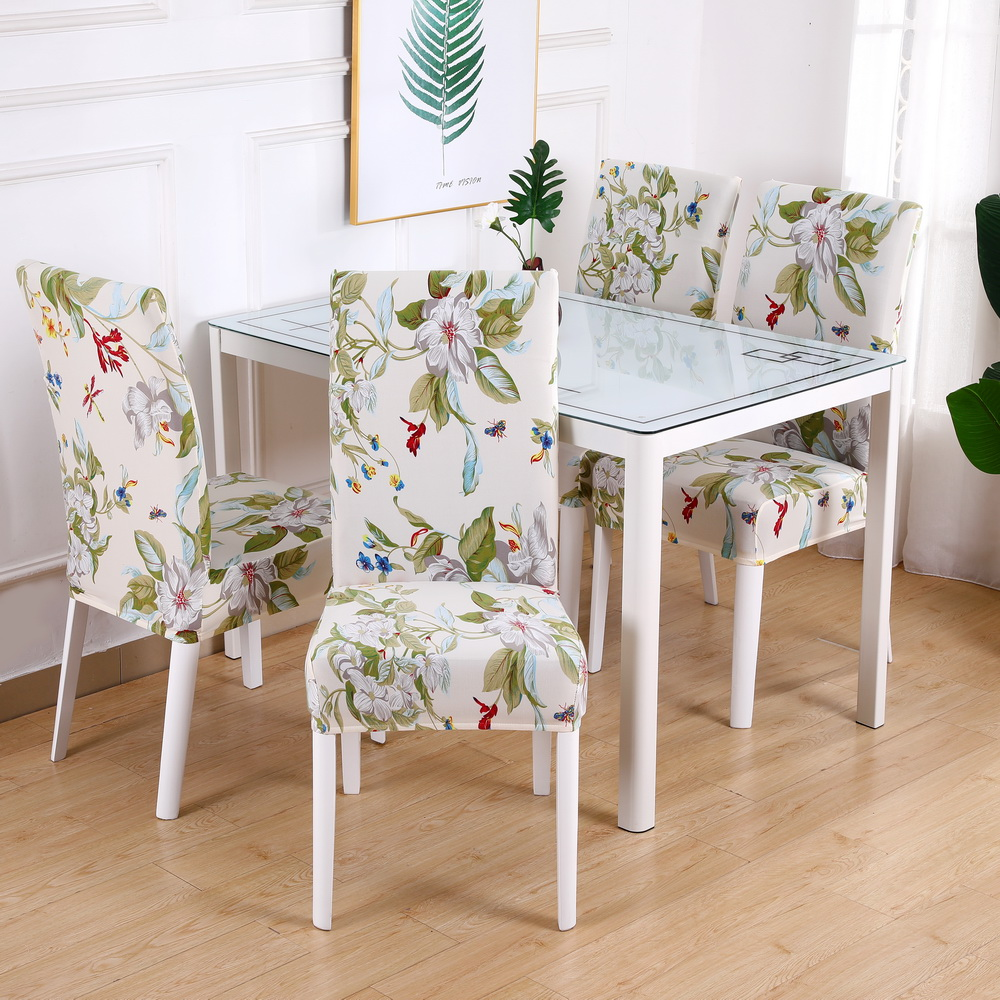 Floral Printing Chair Covers Spandex For Wedding Banquet Hotel Dining living room Stretch Elastic Chair Cover Office Banquet New