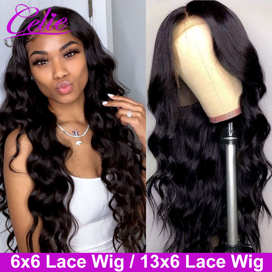 Celie Closure Wig Human-Hair-Wigs Lace-Front-Wig Body-Wave Pre-Plucked with 6x6 title=