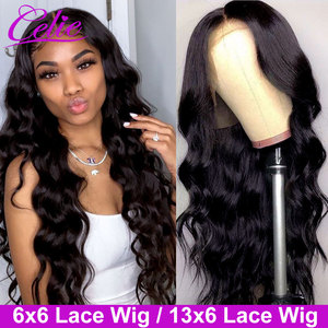 Celie Hair 6x6 Closure Wig Body Wave Wig 13x6 Lace Front Wig With Baby Hair Pre Plucked Body Wave Lace Front Human Hair Wigs(China)