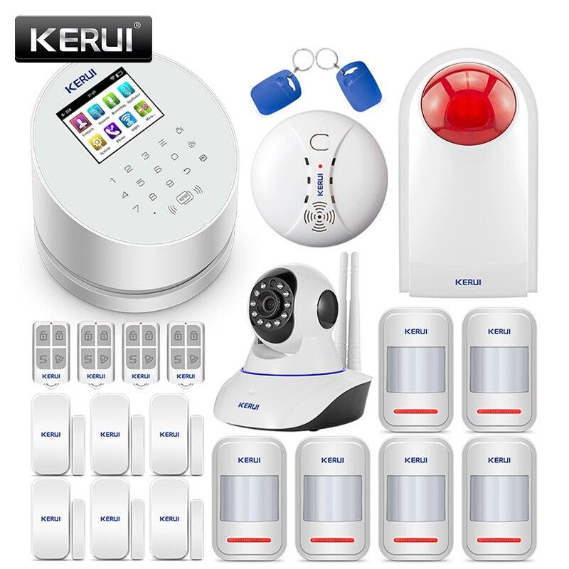 KERUI W2 Wireless Warehouse Garage Burglar Alarm System Security Home PSTN GSM WiFi Three-in-One Mode With 720P IP Camera