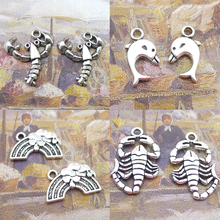 BANMAR 10pcs Charms lobster Dolphin Rainbow Scorpion silver plated Pendant For Jewelry Making L13