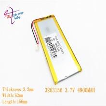 3,7 V 3263156 4800 мА/ч, Перезаряжаемые литий-полимерный литий-ионный аккумулятор Батарея для 8 дюймов 9-дюймового планшетного ПК CHUWI Hi8 hi8 pro xv8 DVD DVR