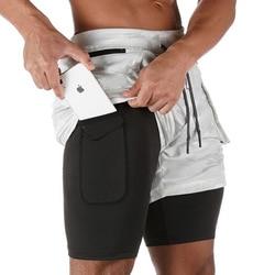 2 in 1 Summer Gym Fitness Mens Shorts Bodybuilding Ployster Grey Short Homme Sport Jogging Shorts Men Workout Joggers Training