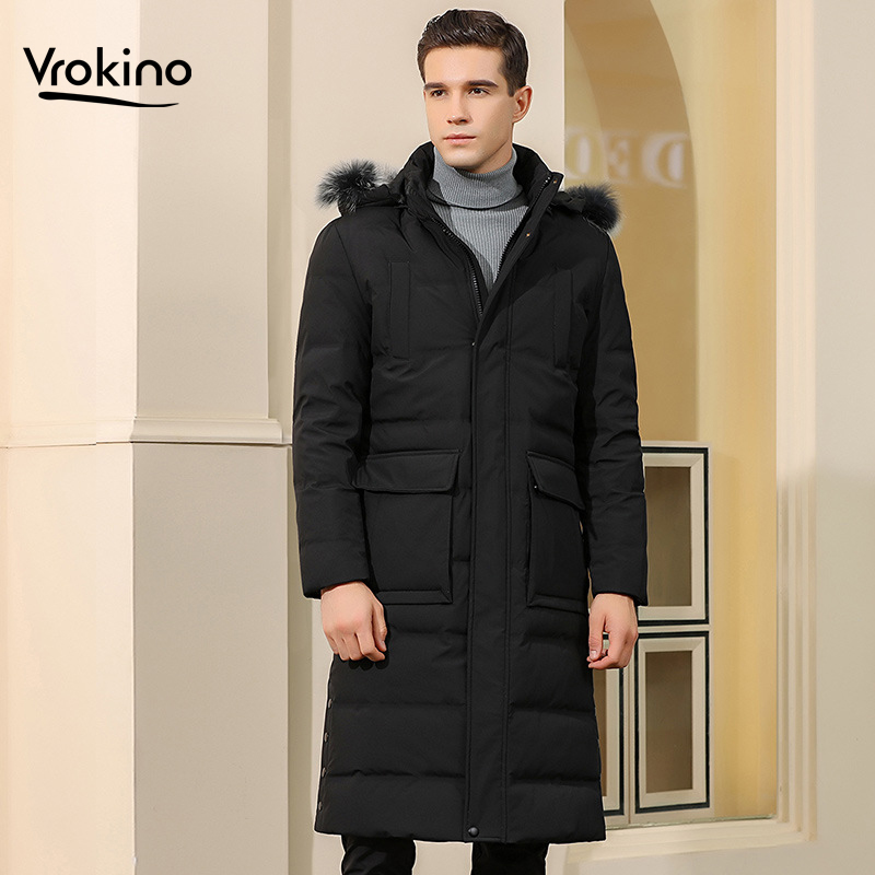 2019 High Quality Winter New Style Men's Long Large Fur Collar Over The Knee Down Jacket 90% White Duck Down Pike Coat M-3XL